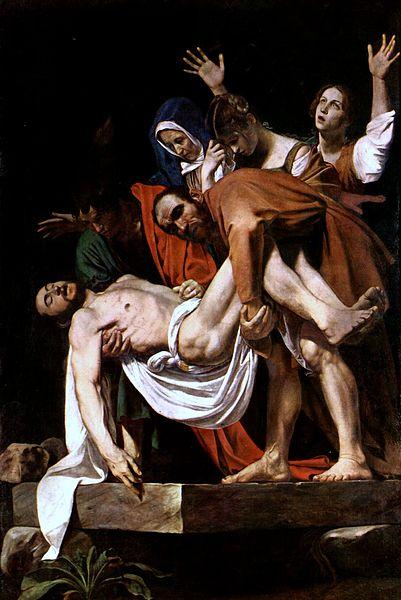 "Michelangelo Caravaggio's 'The Entombment of Christ'. The ""other"" Mary (sometimes called Mary of Cleophas) has her arms outreached."