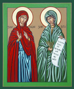 The orthodox icon of Saint Naomi and Saint Ruth