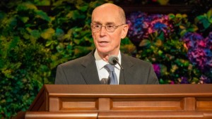 Henry B. Eyring giving the keynote speech at the 2012 General Relief Society Meeting