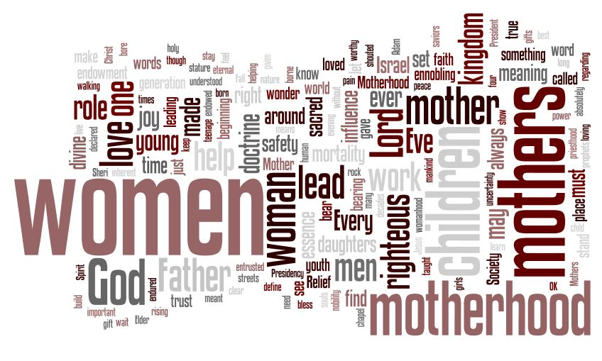 "Wordle of the speech, ""Are we not all mothers?"" by Sheri Dew"