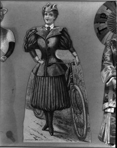 Woman with bicycle wearing bicycling costume, c1895., Library of Congress