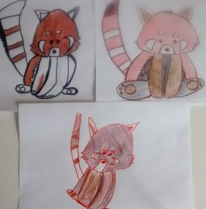 For our last home church, the included craft portion of church involved drawing my daughter's favourite animal, the Red Panda.